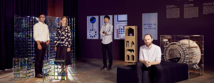 "The three winning designers of -The Swarovski designers of the future award- with their creations<span class=""sr-only""> (opened in a new window/tab)</span>"