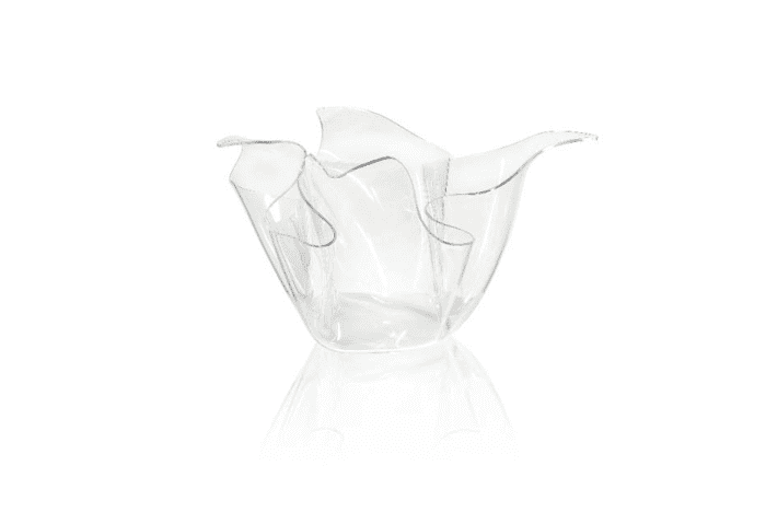 Clear plastic vase looking like a drape of fabric, by Iplex Design.