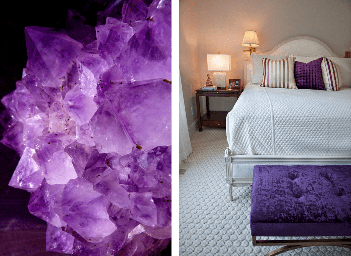 Uses of violet and white in nature and in interiors. Nature: violet crystal. Interior: white bedroom with violet decorative pillows and bed bench.