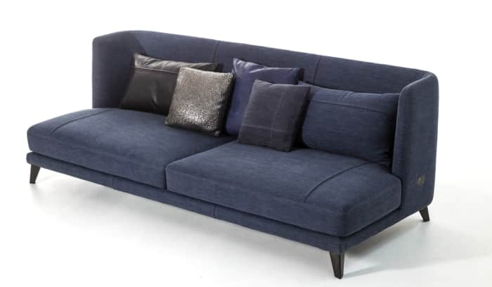 """Modern denim sofa, by Moroso.<span class=""""sr-only""""> (opened in a new window/tab)</span>"""