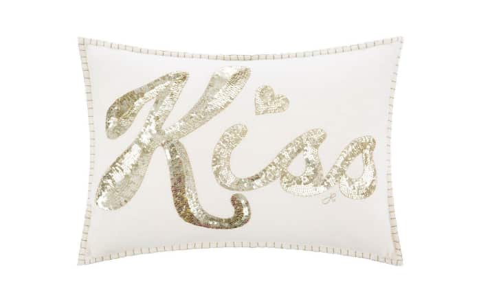 Cushion with sequin lettering, by Jan Constantine.