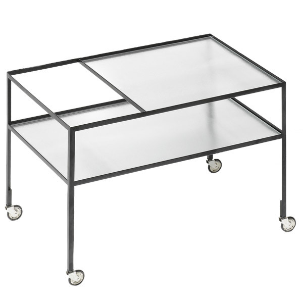 Bauhaus bar cart, designed by Herbert Hirche, is perfect for summer entertaining with a minimalist style