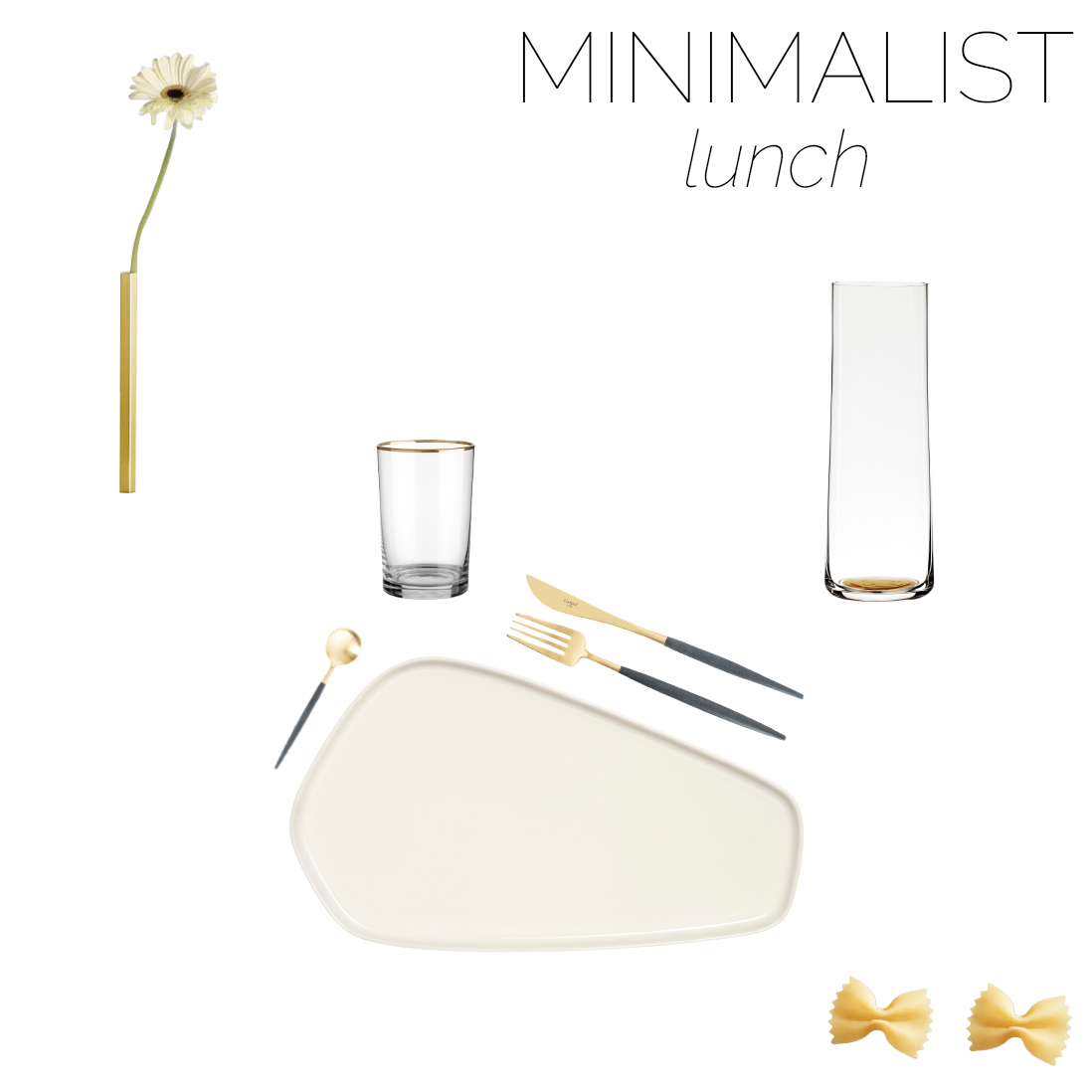 Mood board of a minimalist table setting for lunch.