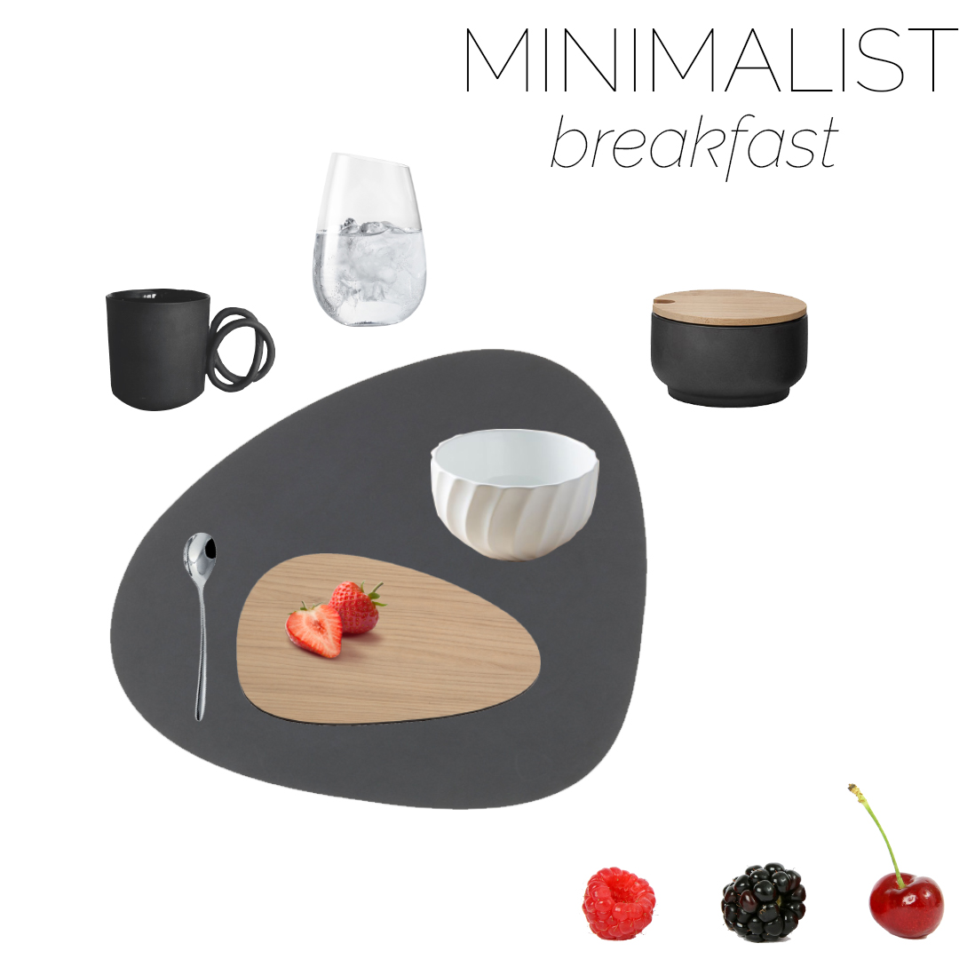 Mood board of a minimalist table setting for breakfast.