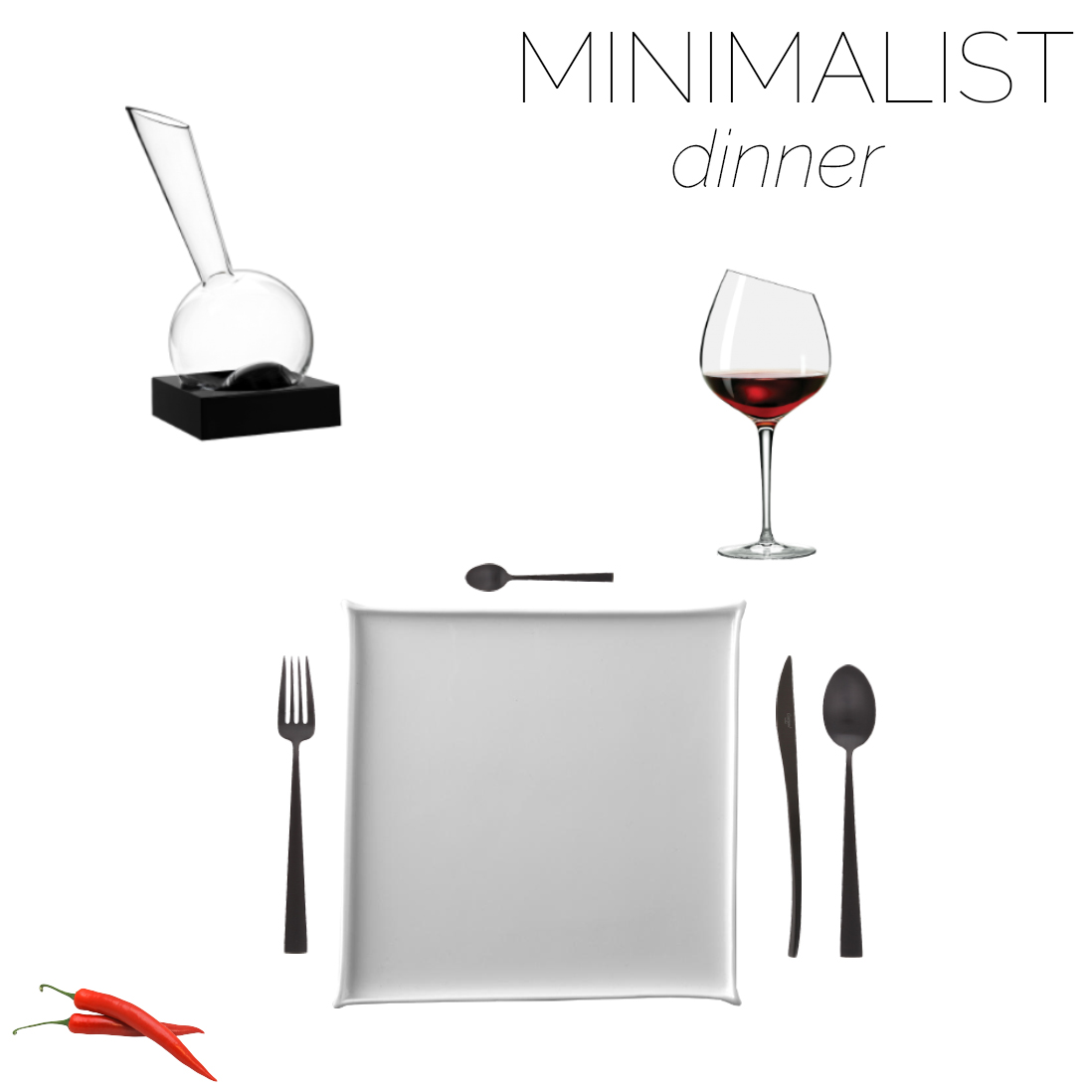 Mood board of a minimalist table setting for dinner.