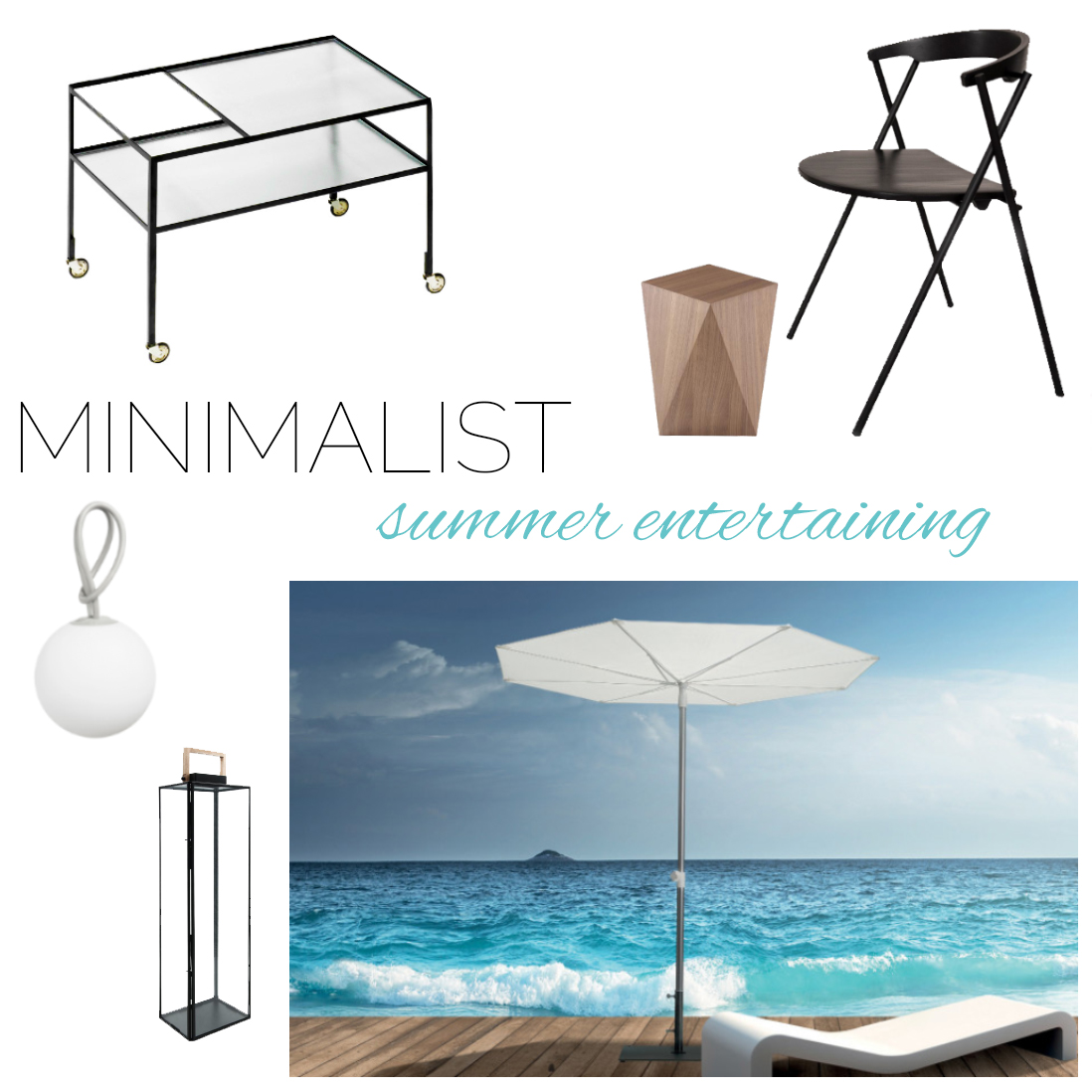 Minimalist summer entertaining moodboard