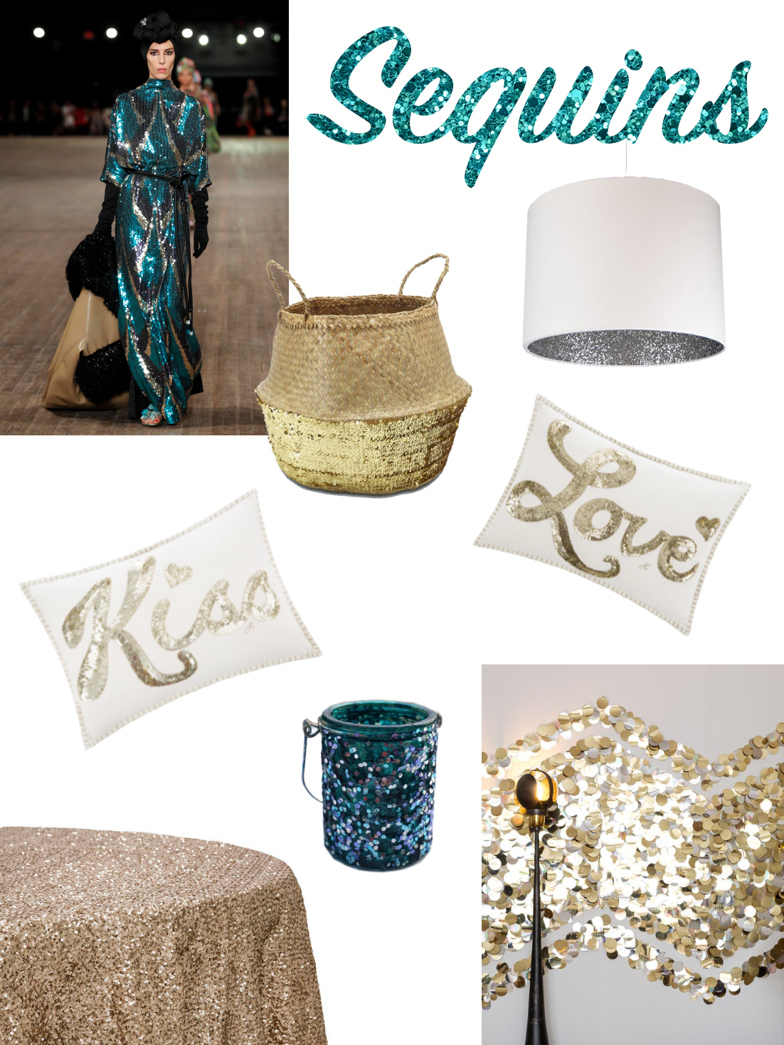 Sequins mood board: a selection of furniture and accessories. Sequins mood board: a selection of furniture and accessories.