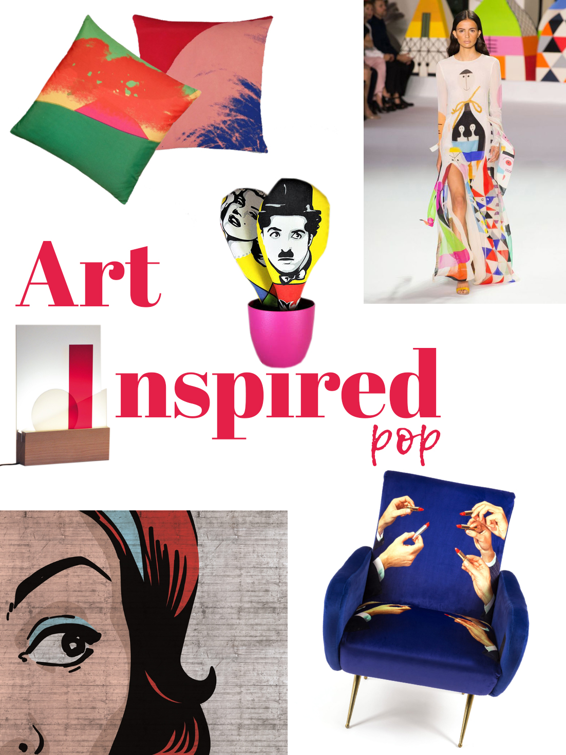 Art-inspired pop mood board: a selection of furniture and accessories.