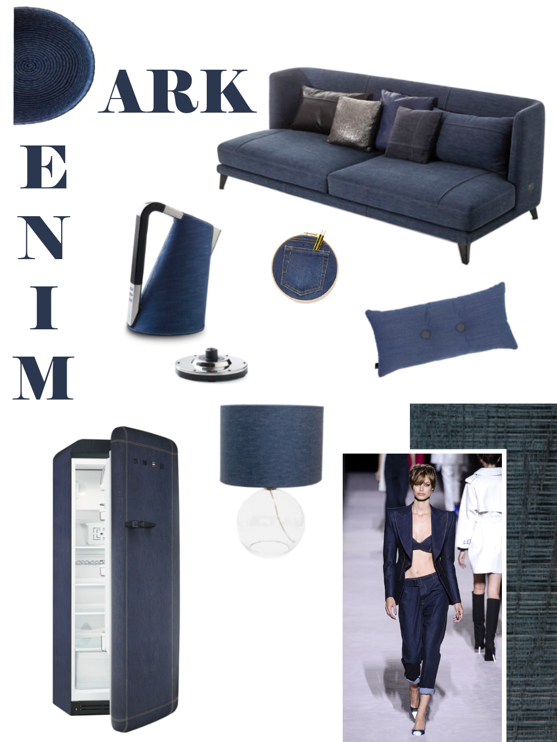 Dark denim mood board: a selection of furniture and accessories.