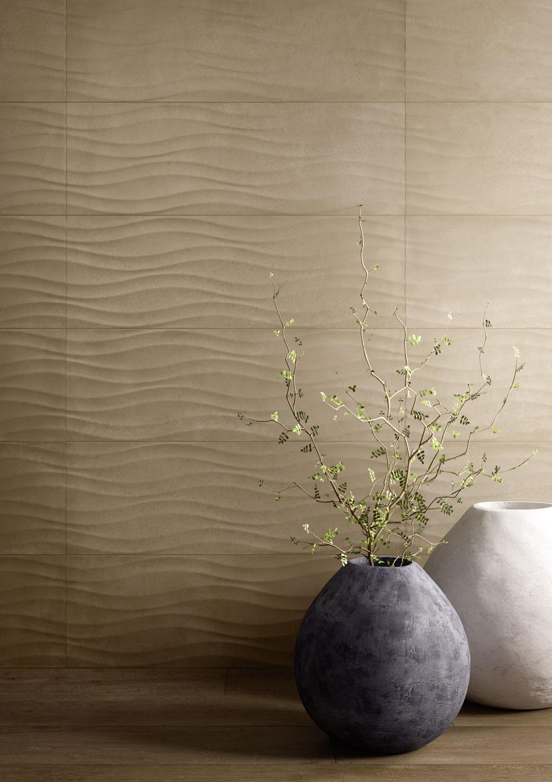 Tiles with wavy texture, a great example of biophilic design.