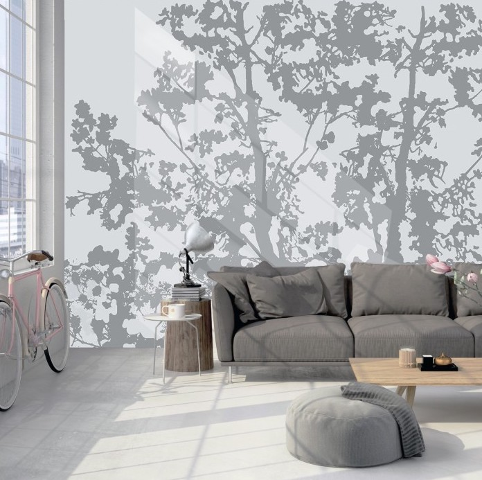 Wallpaper with branches pattern.