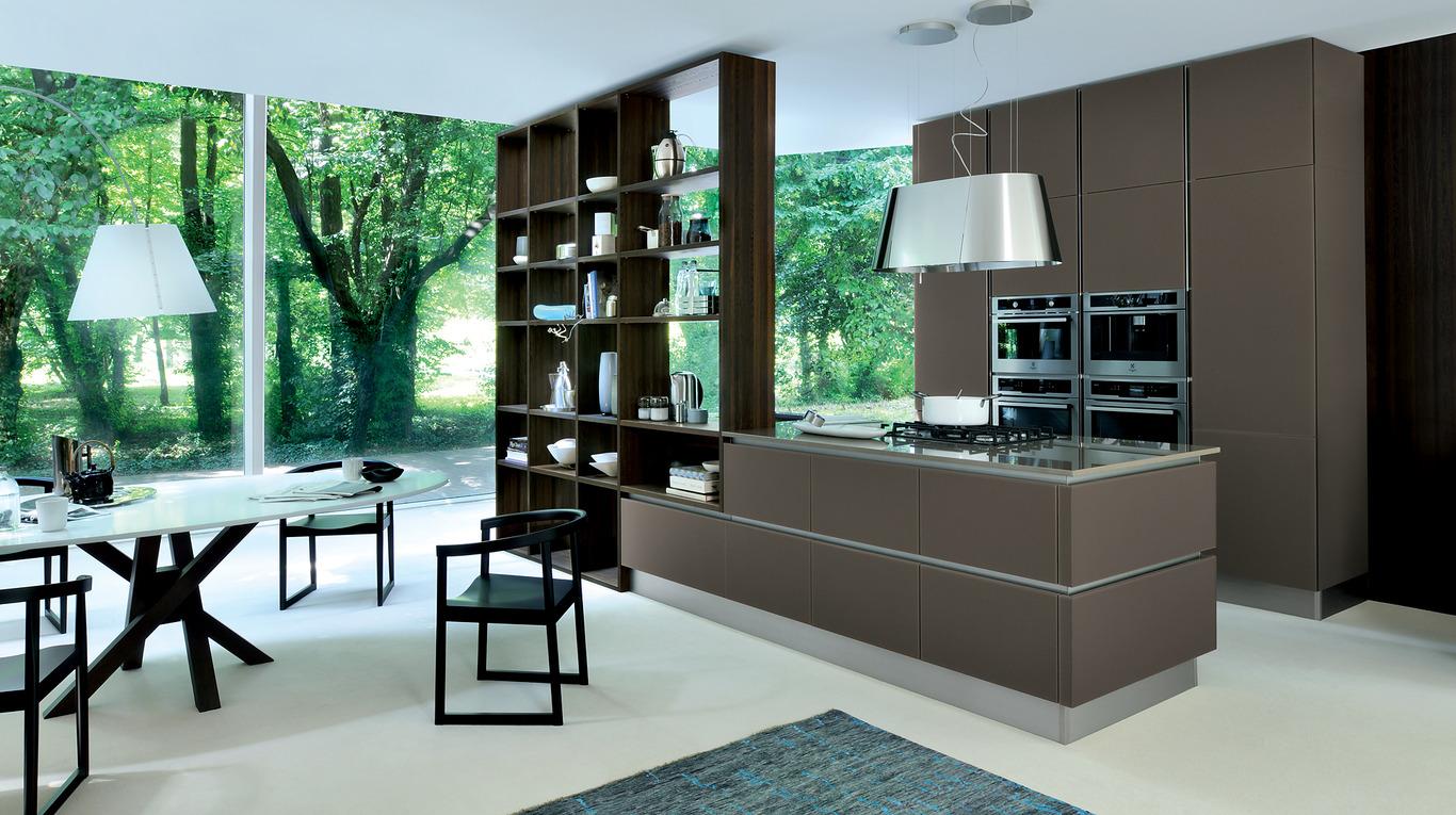 Open bookshelf room divider between kitchen and dining area, great example of biophilic design.
