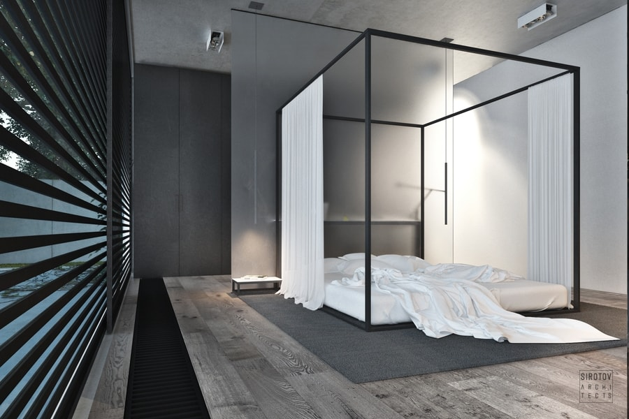 Canopy bed in a minimalist home, great option to create a refuge area in a biophilic design.
