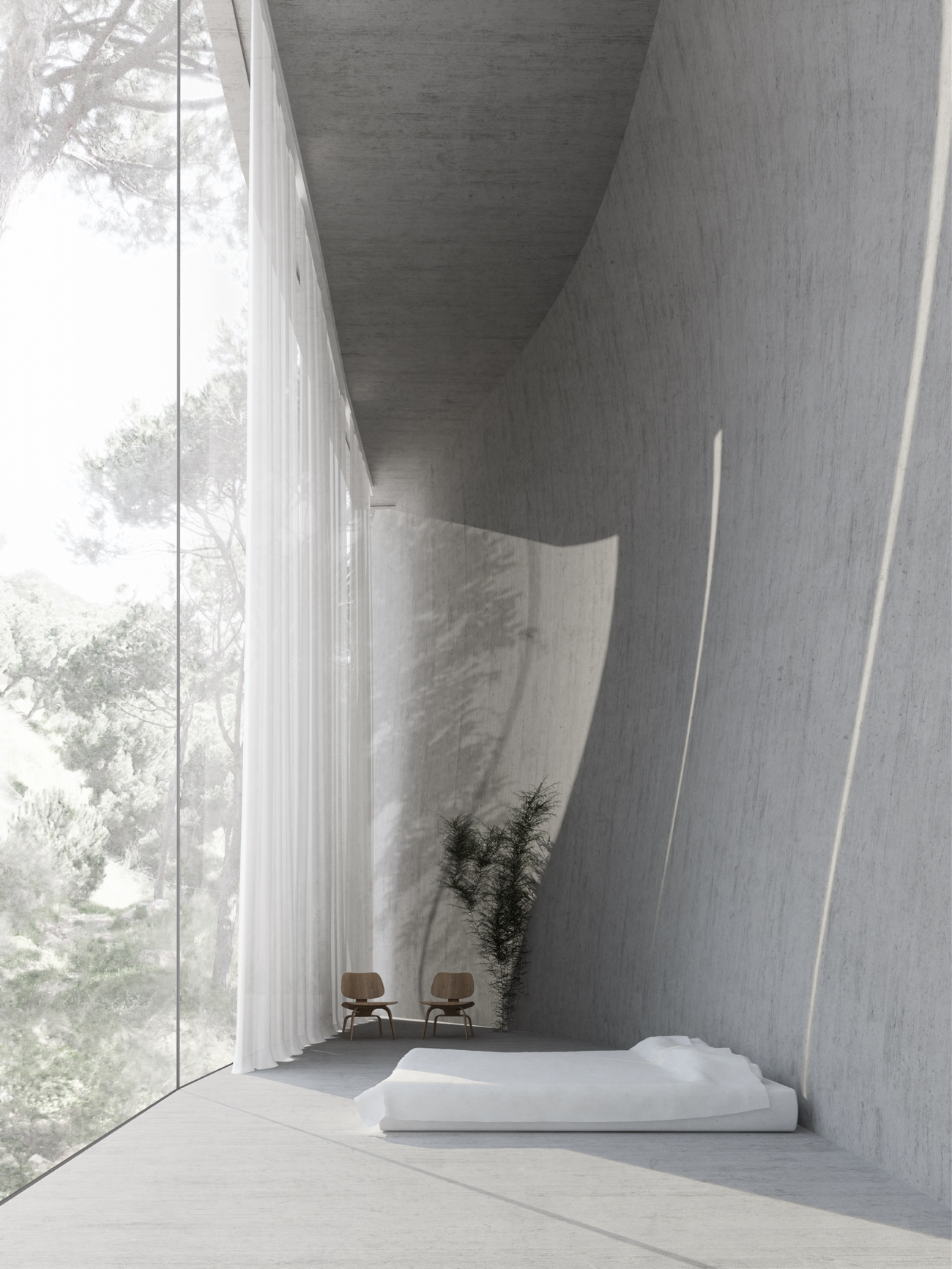 Full-height window looking into the forest, great option to create a sense of risk in a biophilic design.