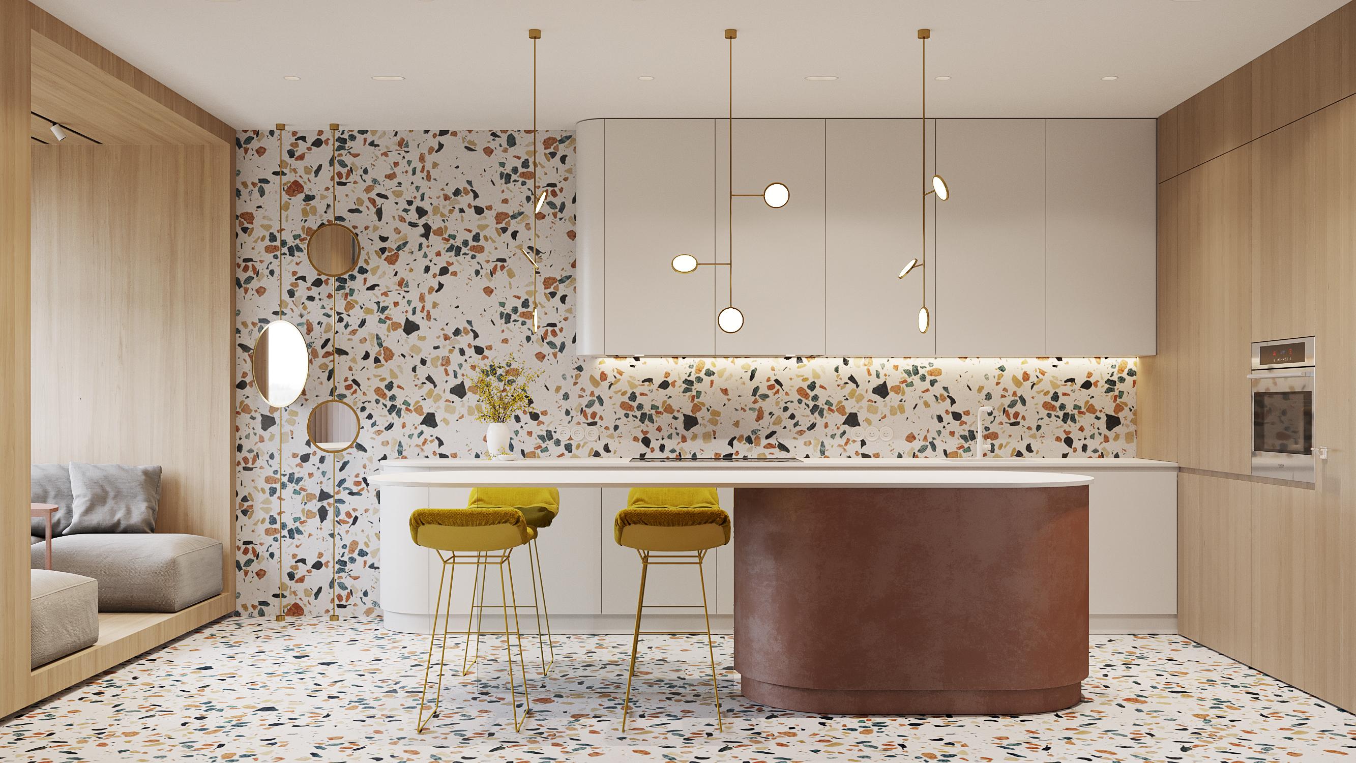 Terrazzo kitchen.