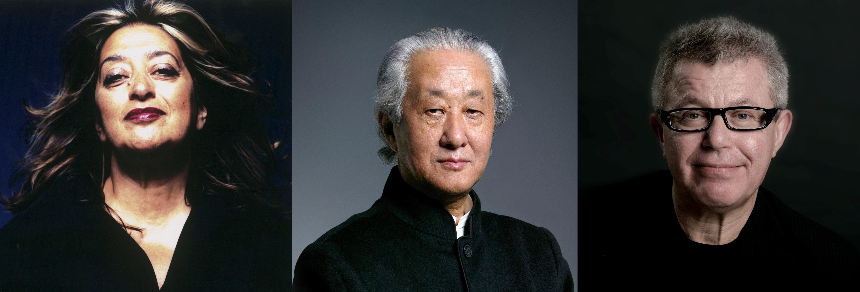 Photos of Zaha Hadid, Arata Isozaki and Daniel Libeskind.