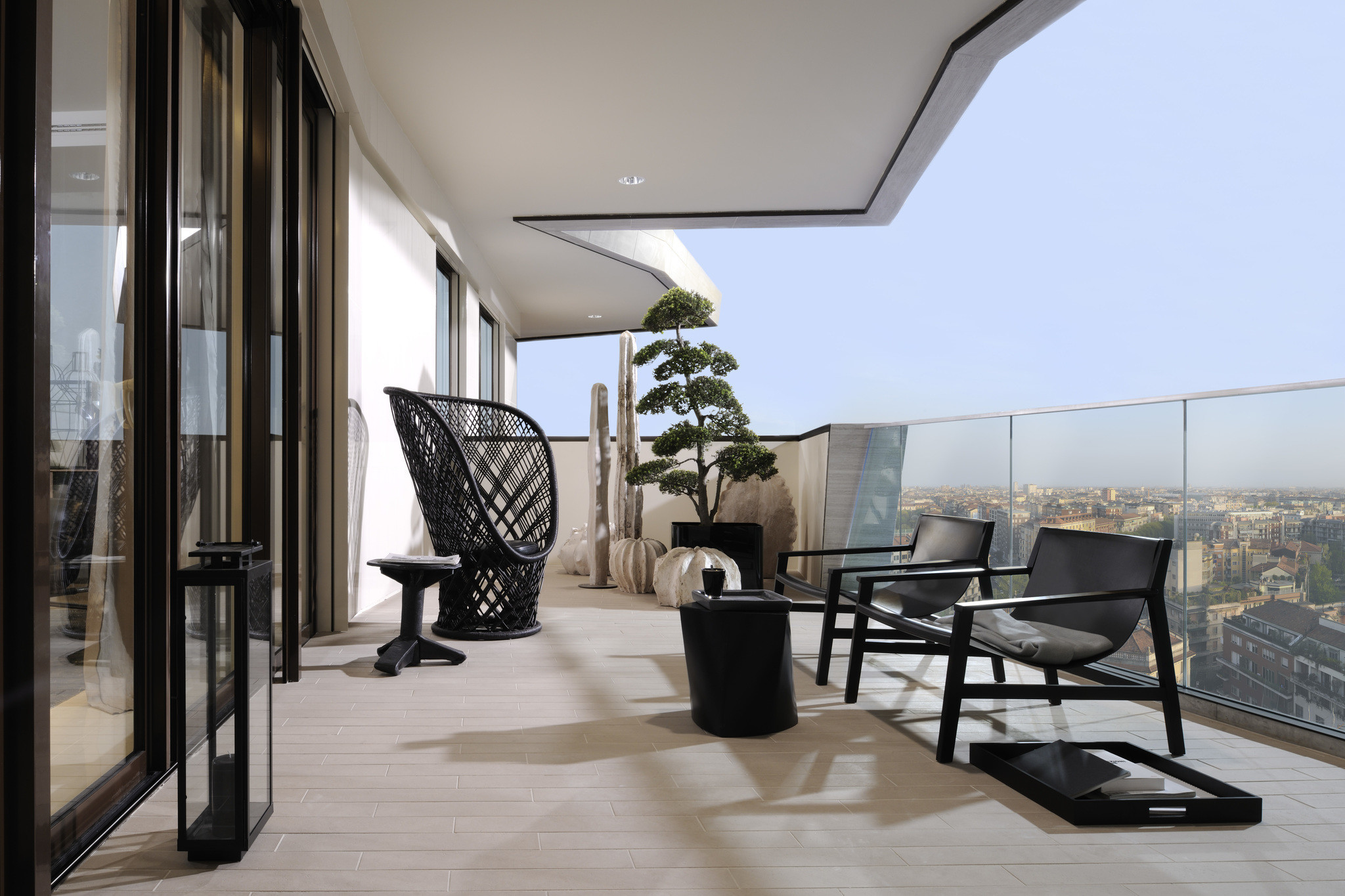 Biophilic interior design in CityLife, balcony.