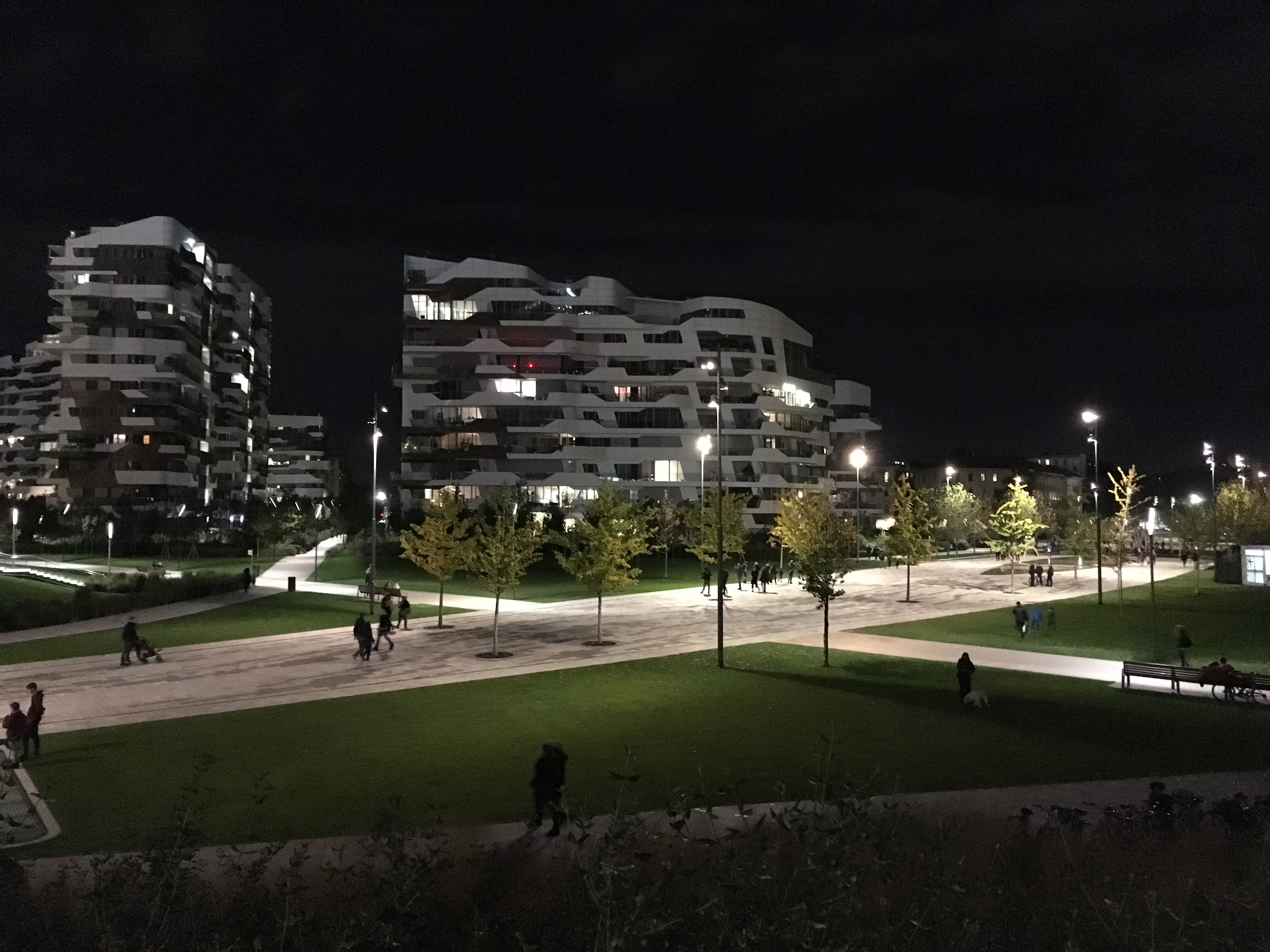 Biophilic park in CityLife, by night.