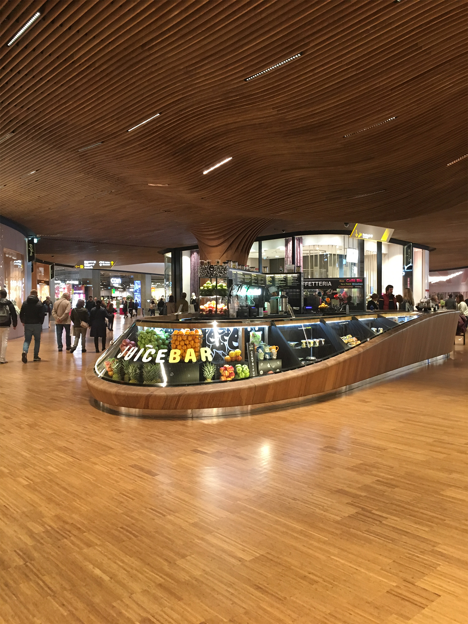 Indoor view of CityLife shopping district, an example of biophilic design.