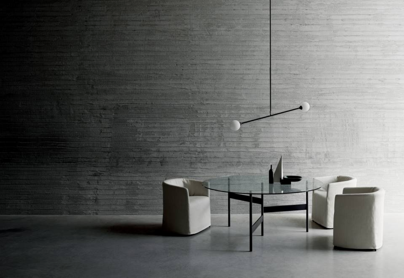 Sculptural minimalist dining room.