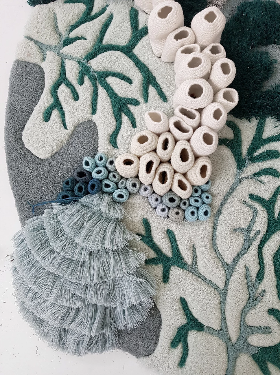 Detail of the coral reef textile art.