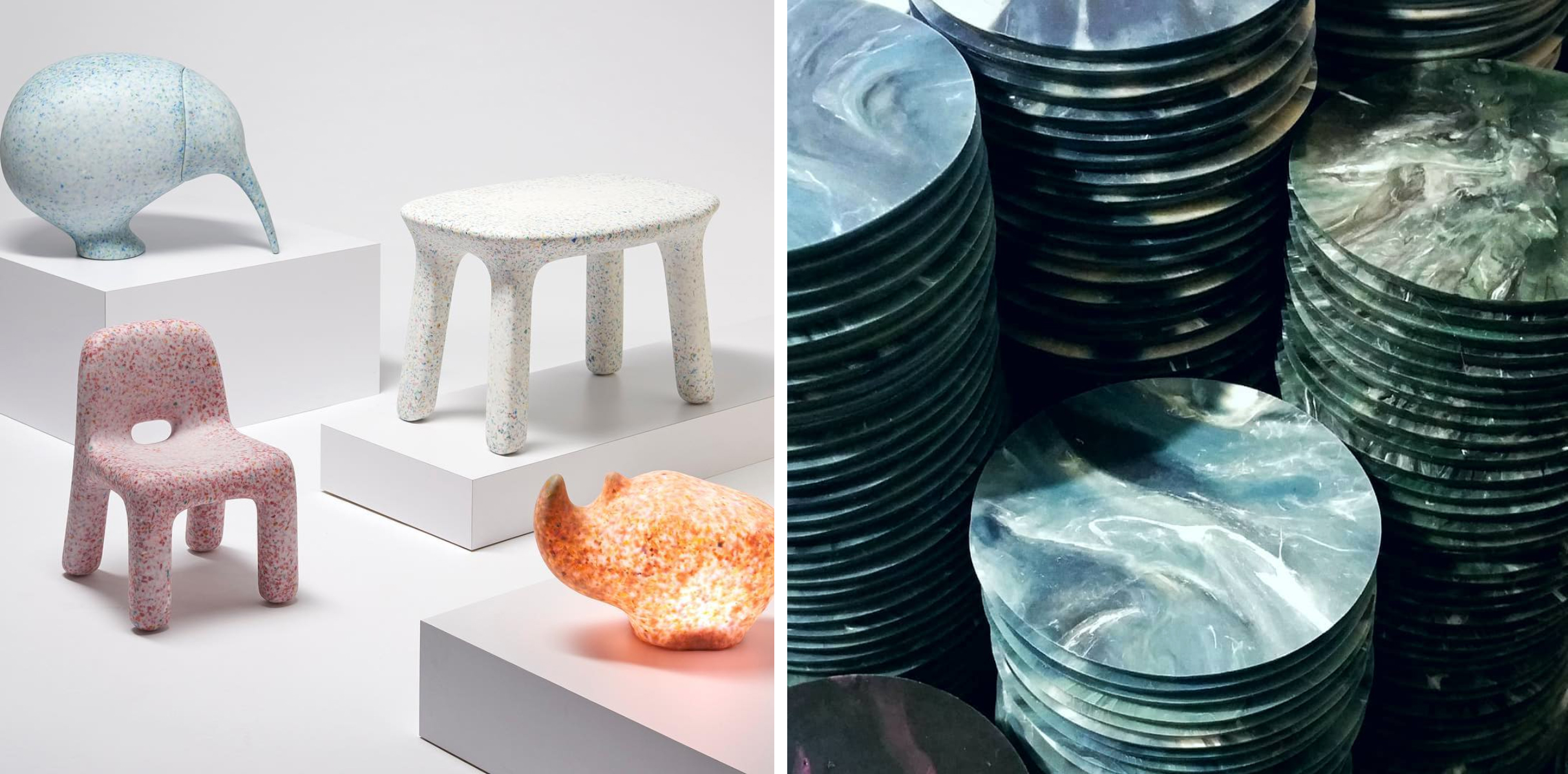 Two examples of plastic recycling projects. 1. Kids furniture made of recycled plastic toys. 2. Coasters made of recycled plastic wrap.