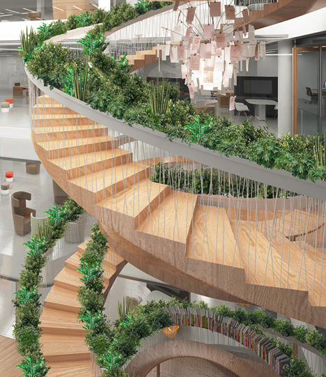 A circular staircase with plants all along the handrail.