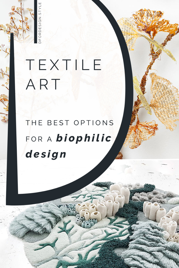 Textile art ideas for a biophilic design. Pin it.