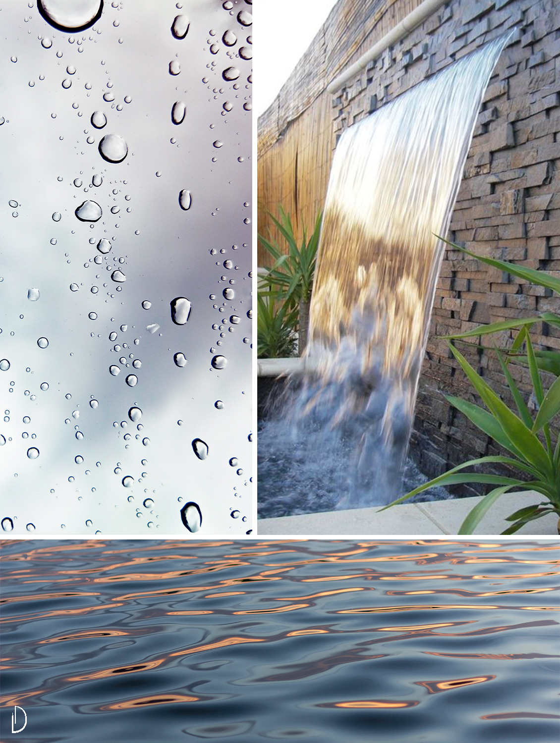 Moodboard to show the power of water in a biophilic design: drops on a clear background, the texture of waves and a water fountain.