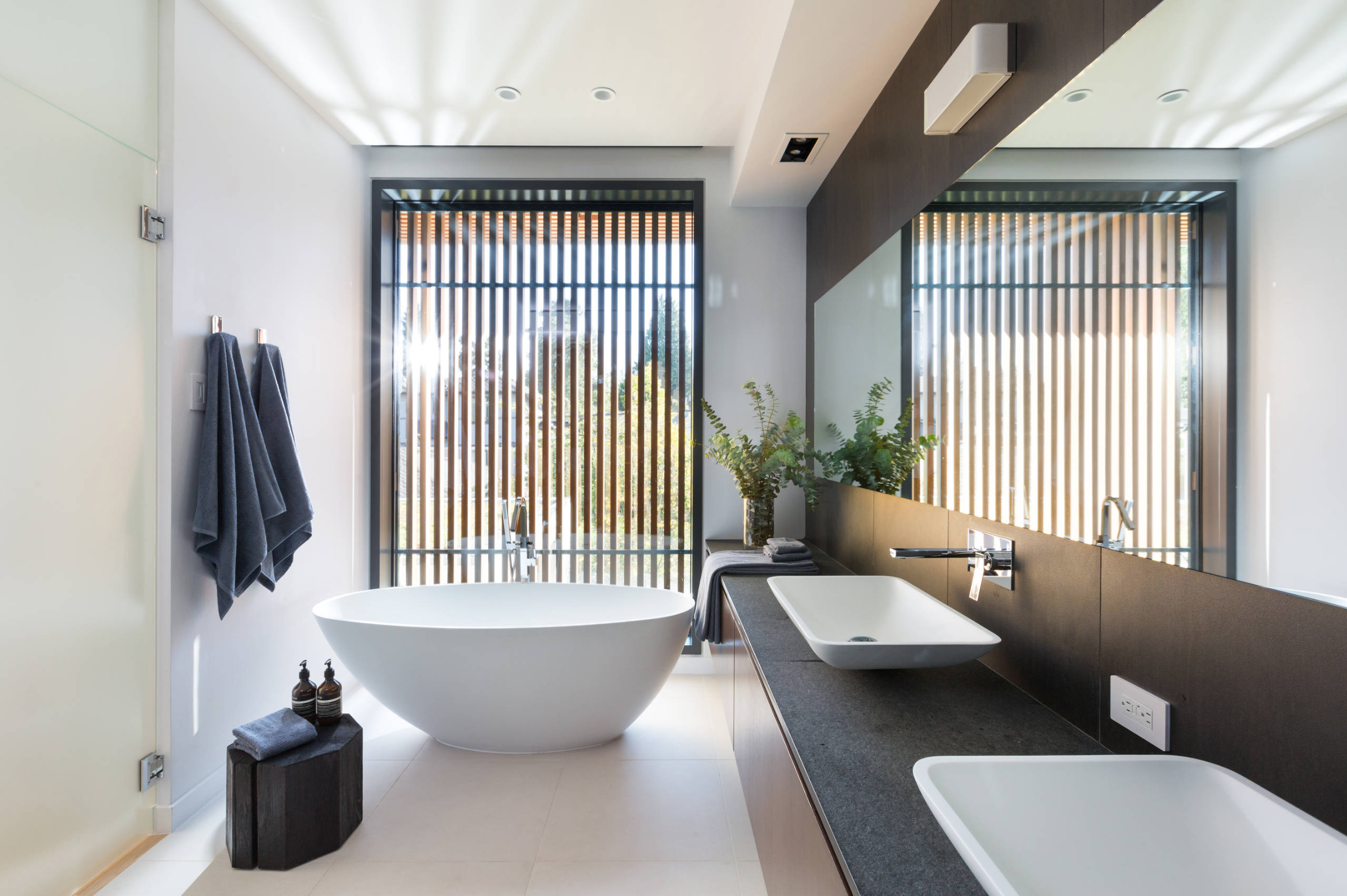 Natural bathroom design filled with natural light. A vertical wall panelling adds privacy