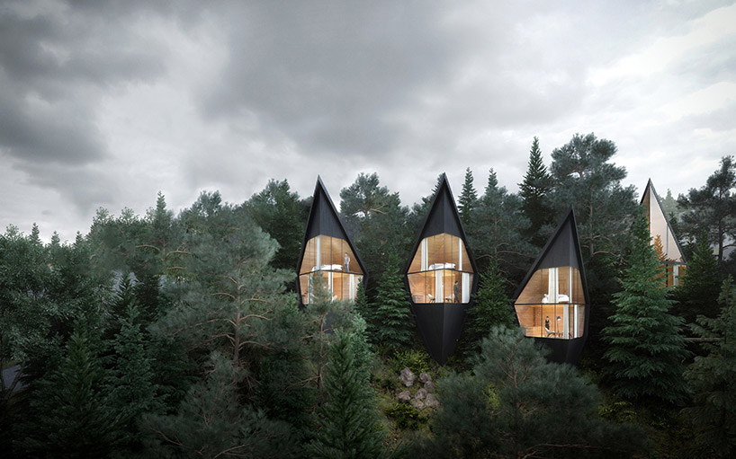 View of treehouses showing their total immersion in the forest.