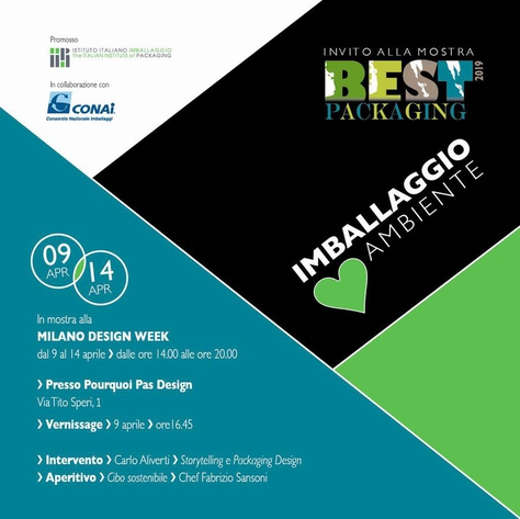 Poster of the installation BEST PACKAGING 2019: IMBALLAGGIO loves AMBIENTE.