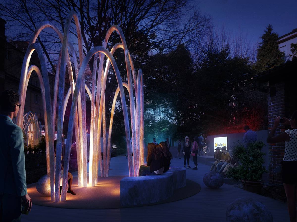 Rendering of the circular garden installation of Milan Design Week 2019.
