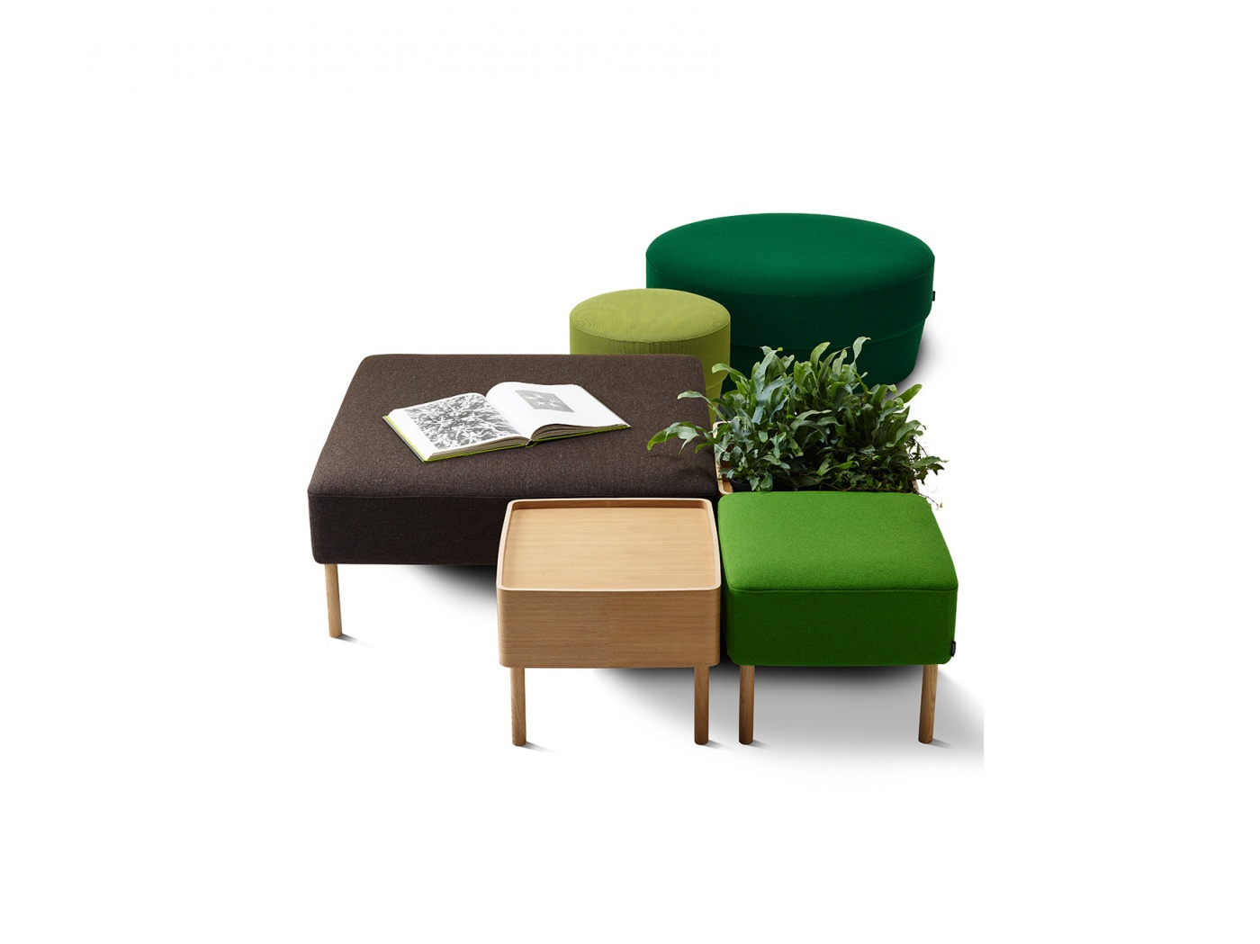 Modular bench with modules for seating, storage and plants, an ideal solution for the flexible workspace design of the future.