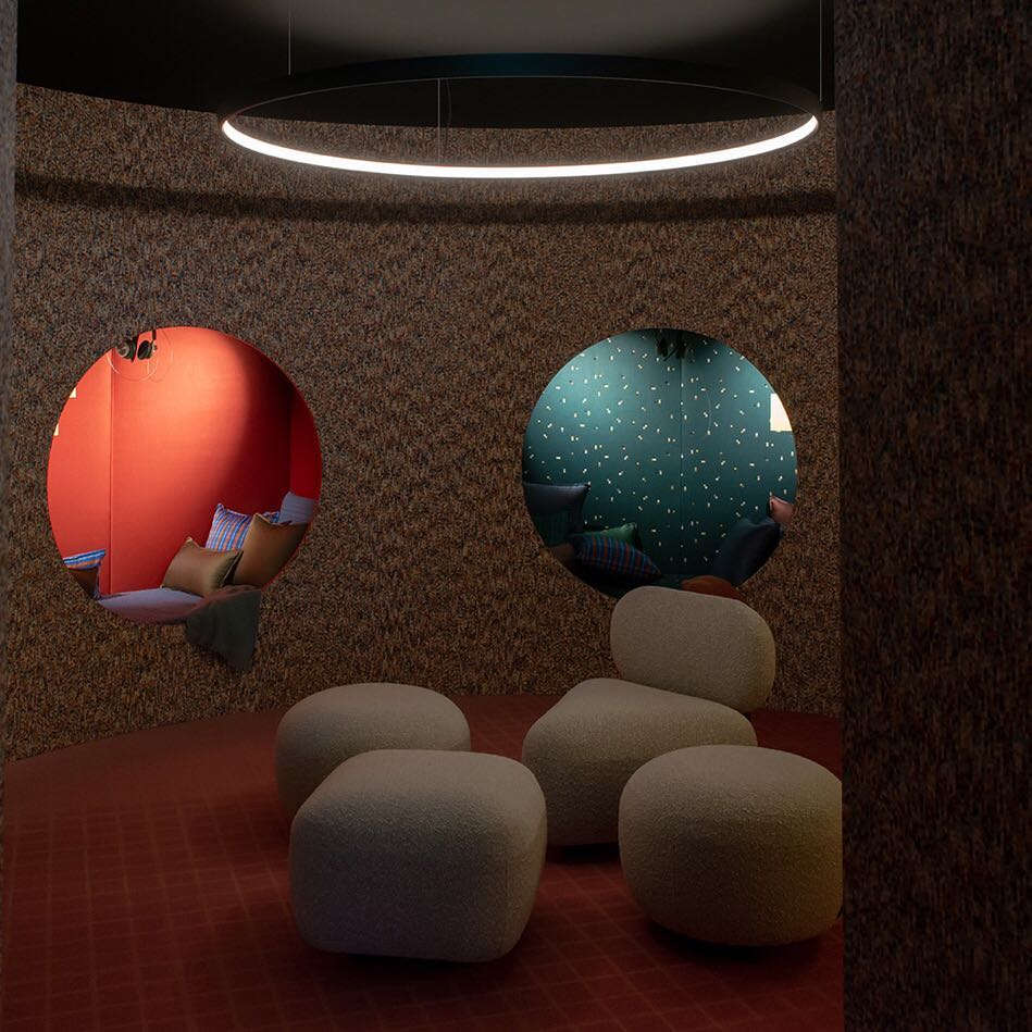 Rounded alcoves for relaxation at the workplace, one of the additions of the workspace design of the future.