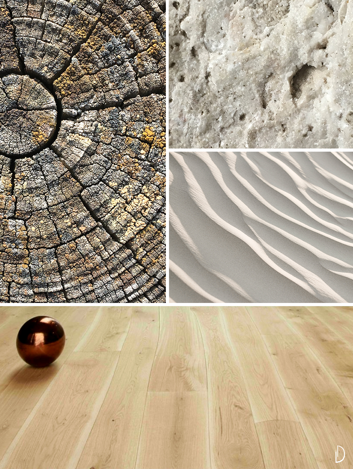 Moodboard depicting natural textures: a wood flooring, the close-up of a tree trunk, an expanse of sand and the detail of a stone texture.
