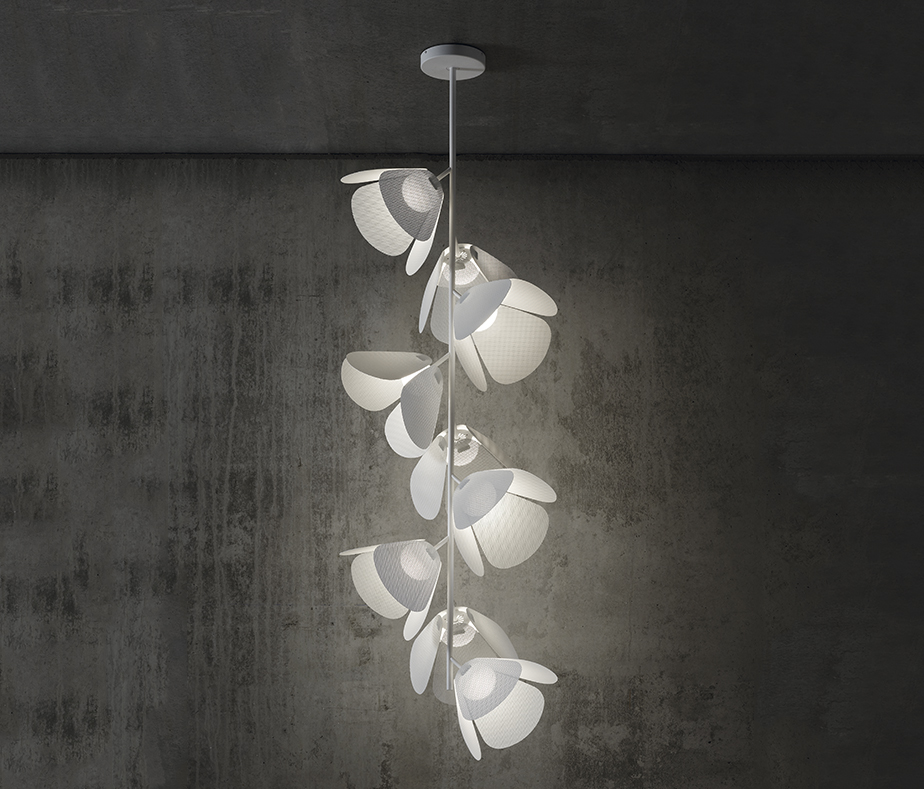 Modular pendant light whose modules look like flowers.