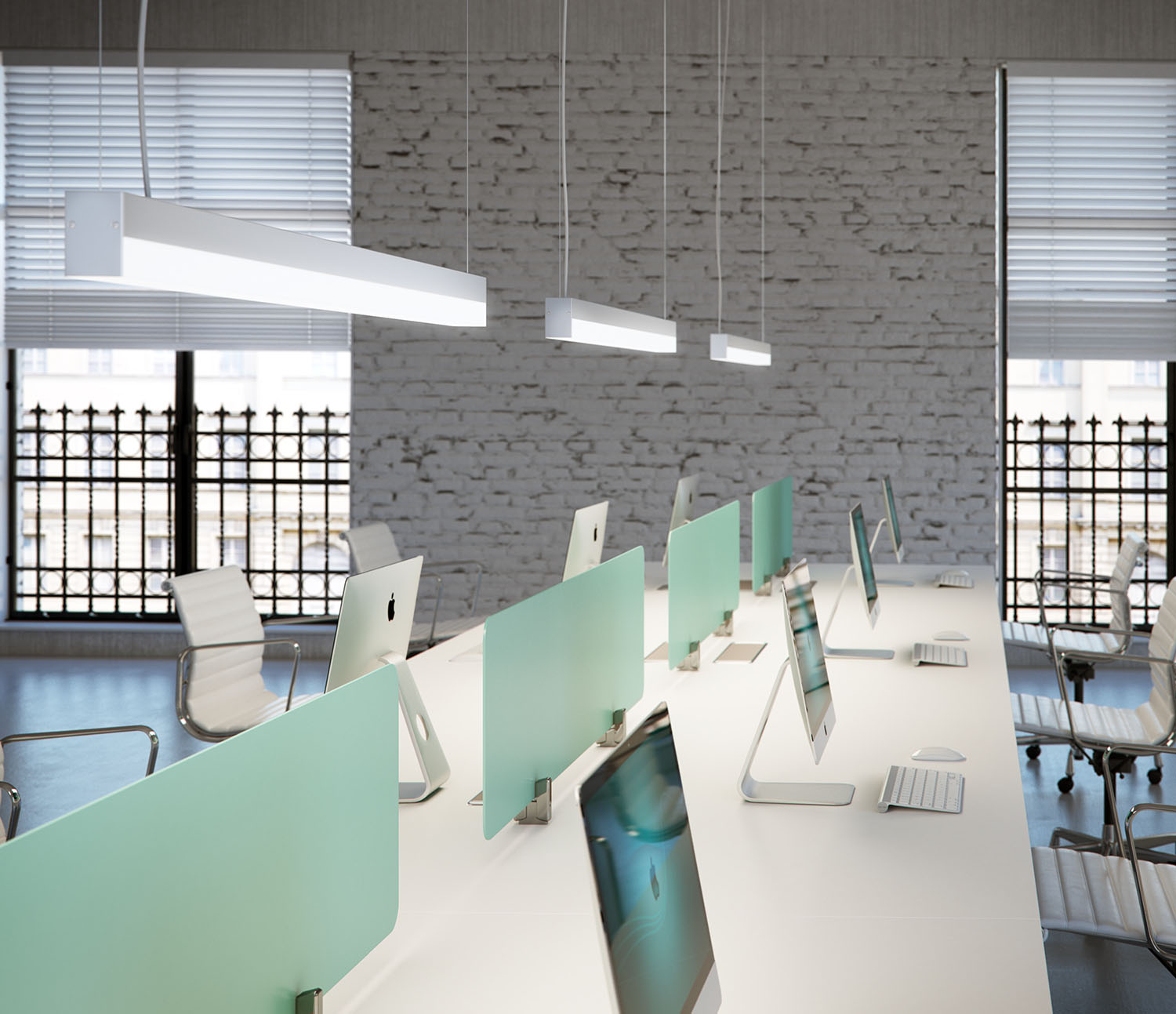 Smart pendant light over a working station.