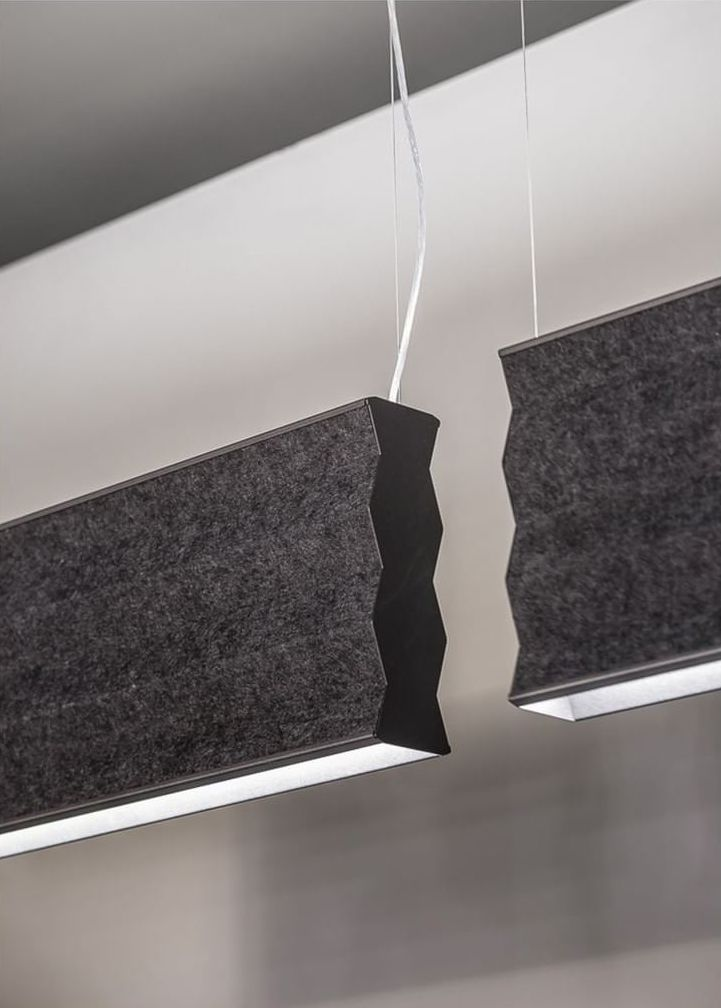 Pendant light whose shade is made with sound-absorbing felt panel.