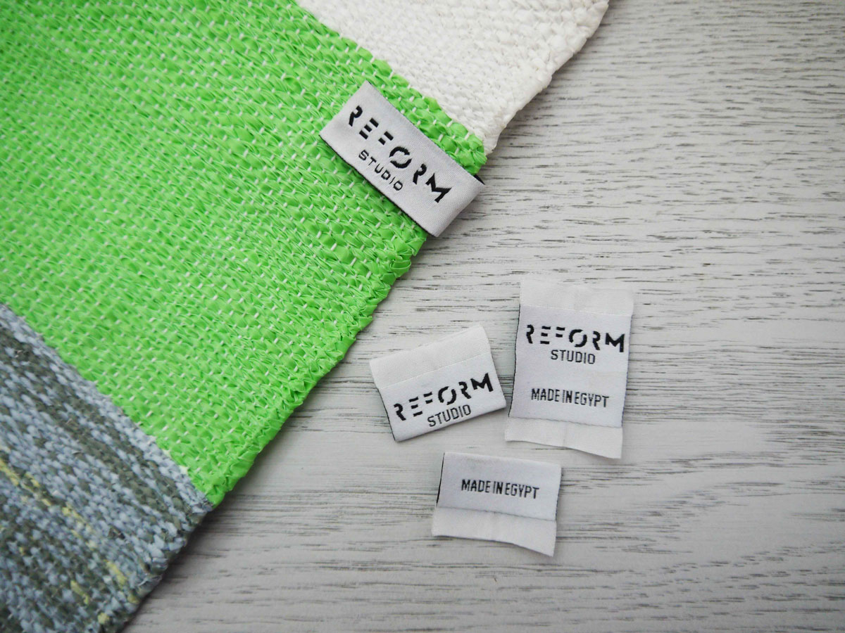 Close up of Plastex, a sustainable material made recycling plastic bags.