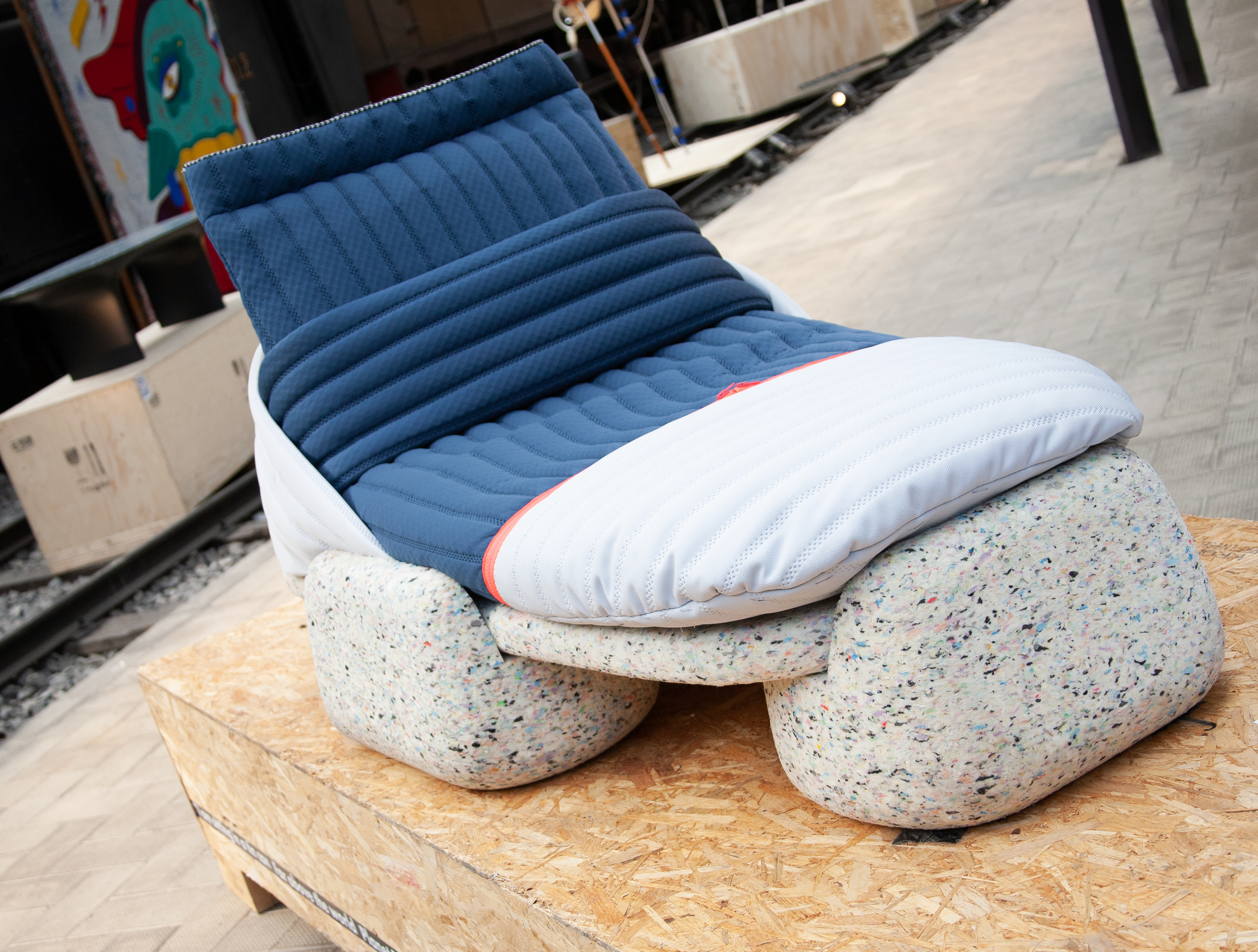 Daybed with recycled plastic base and fabrics; one of the plastic recycling design projects joining the Guiltless Plastic Initiative.