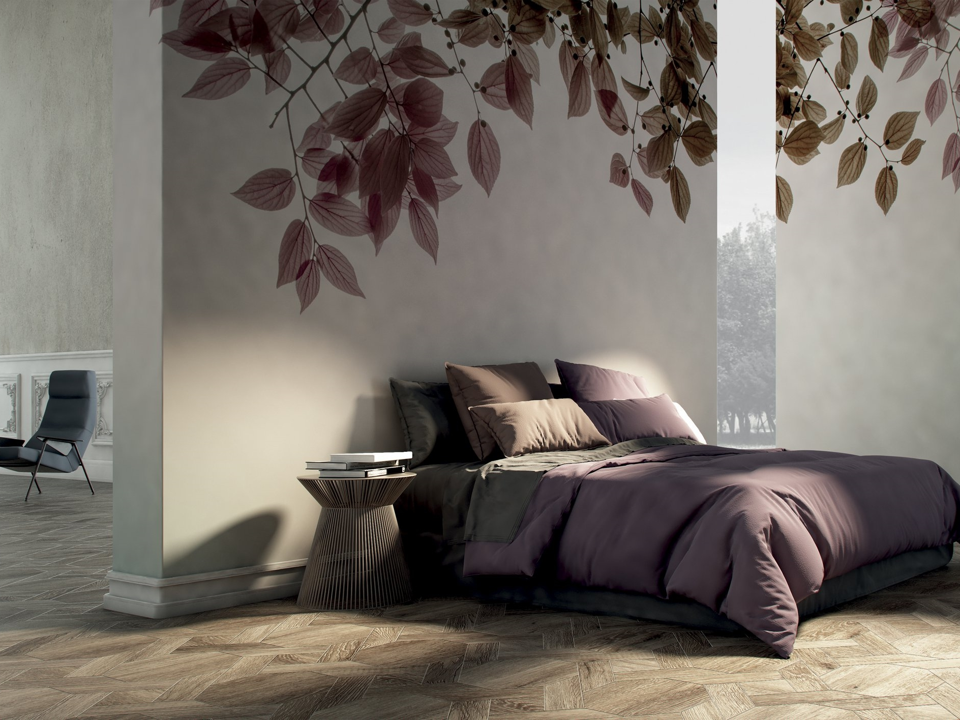 Bedroom with a wallpaper reproducing the natural fractal of branches with leaves, that drape from the top.