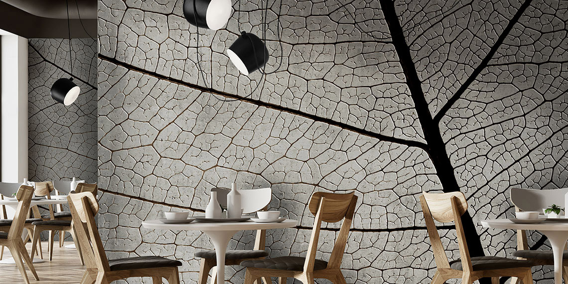 Grey wallpaper representing the veins of a leaf in giant scale.