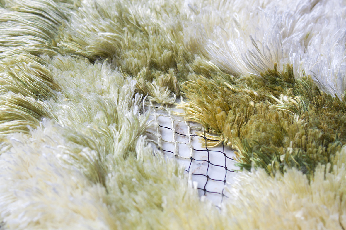 Close up of the texture of the rug.