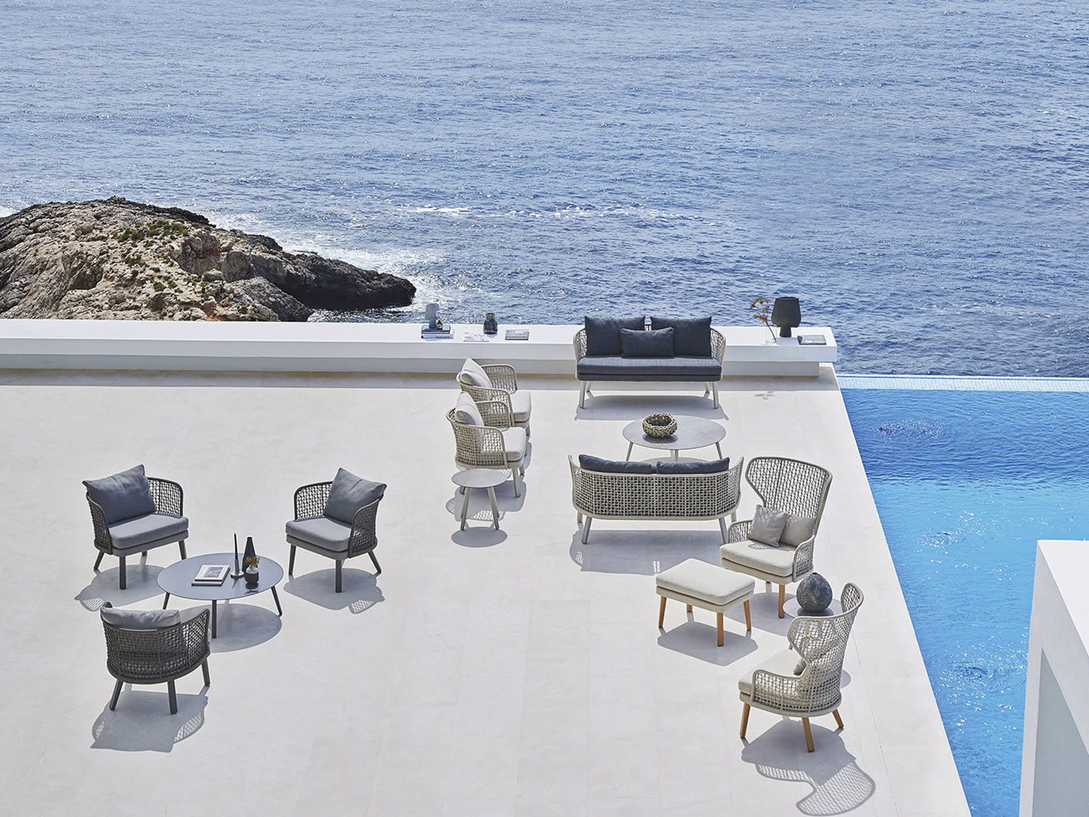 Outdoor design on a deck overlooking the sea.