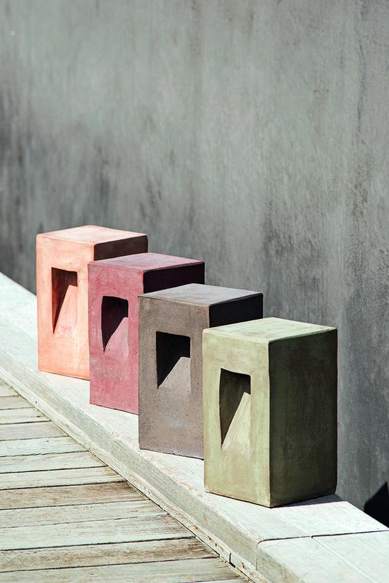 Terracotta lantern in several earthy colours.