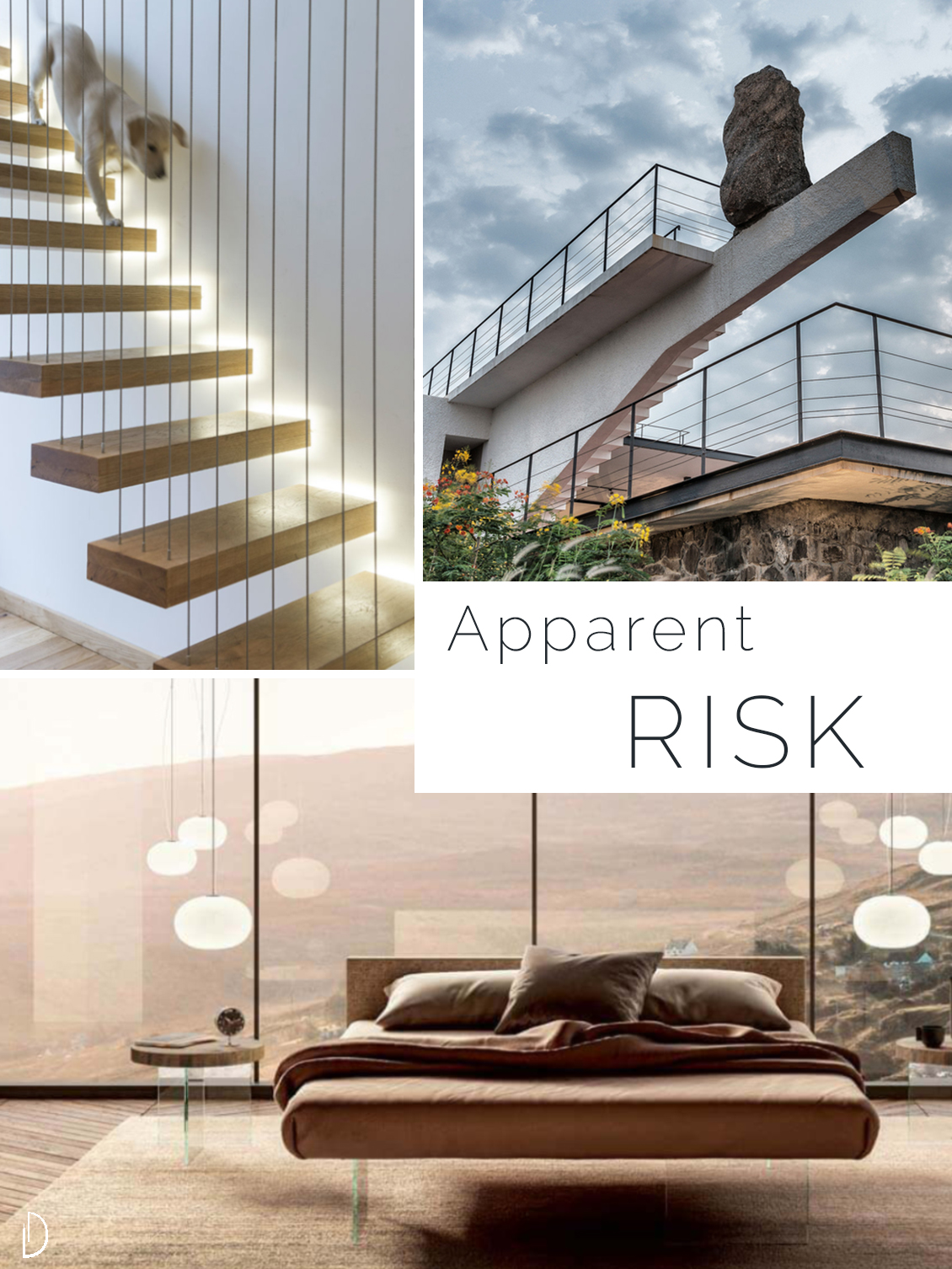 Moodboard showing the concept of risk in biophilic design. 1 A floating staircase 2 A seemingly unstable stone on top of a cantilevered pillar 3 A bed with glass legs.