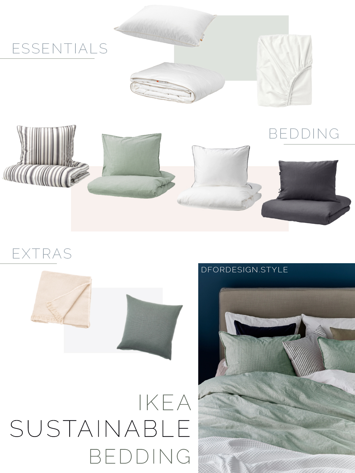 Moodboard showing a variety of sustainable products for the bedroom: from quilts and fitted sheets, to bedding, to throws and decorative cushions.
