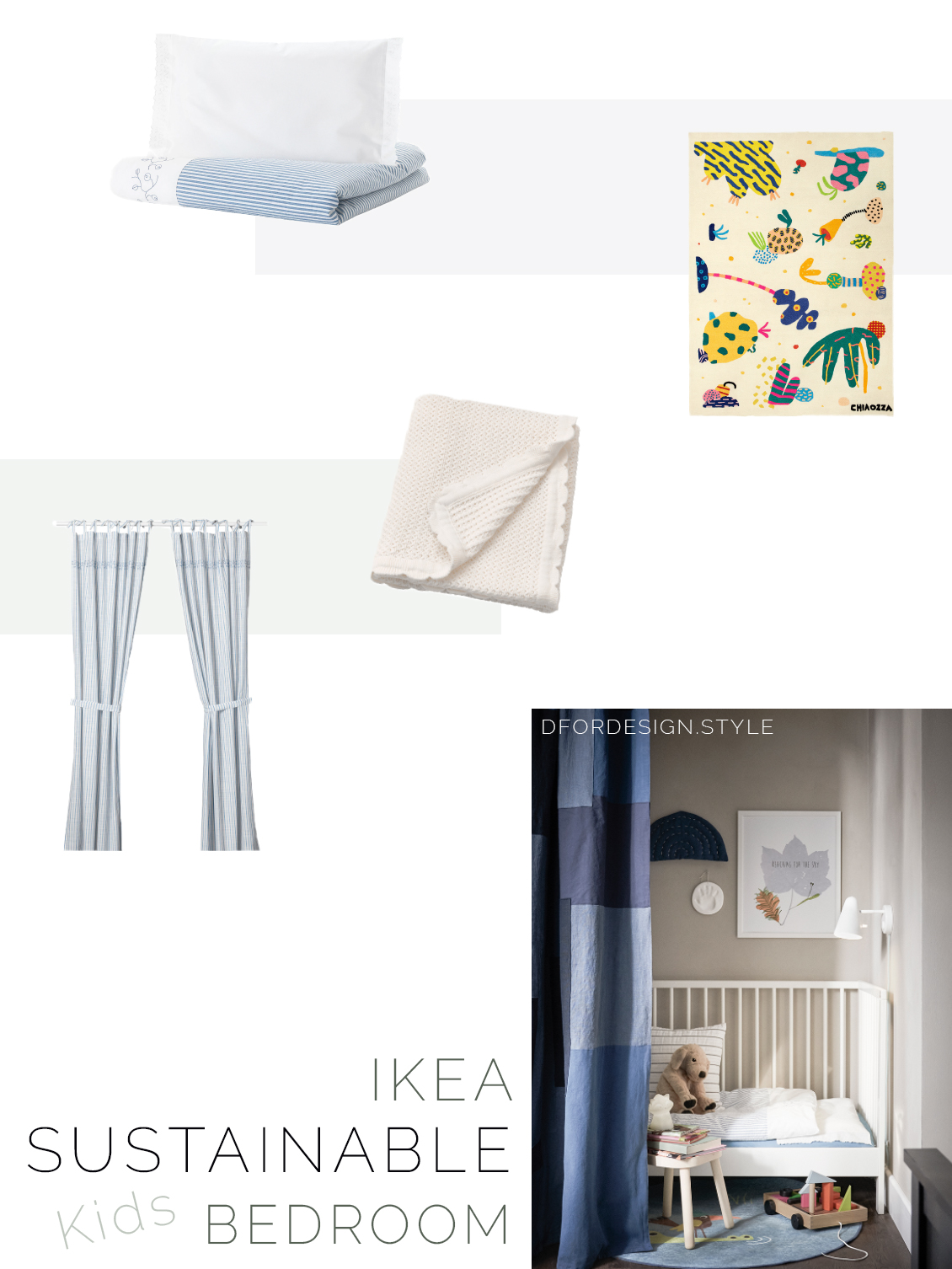 Moodboard showing a variety of sustainable textiles for kids' bedrooms.