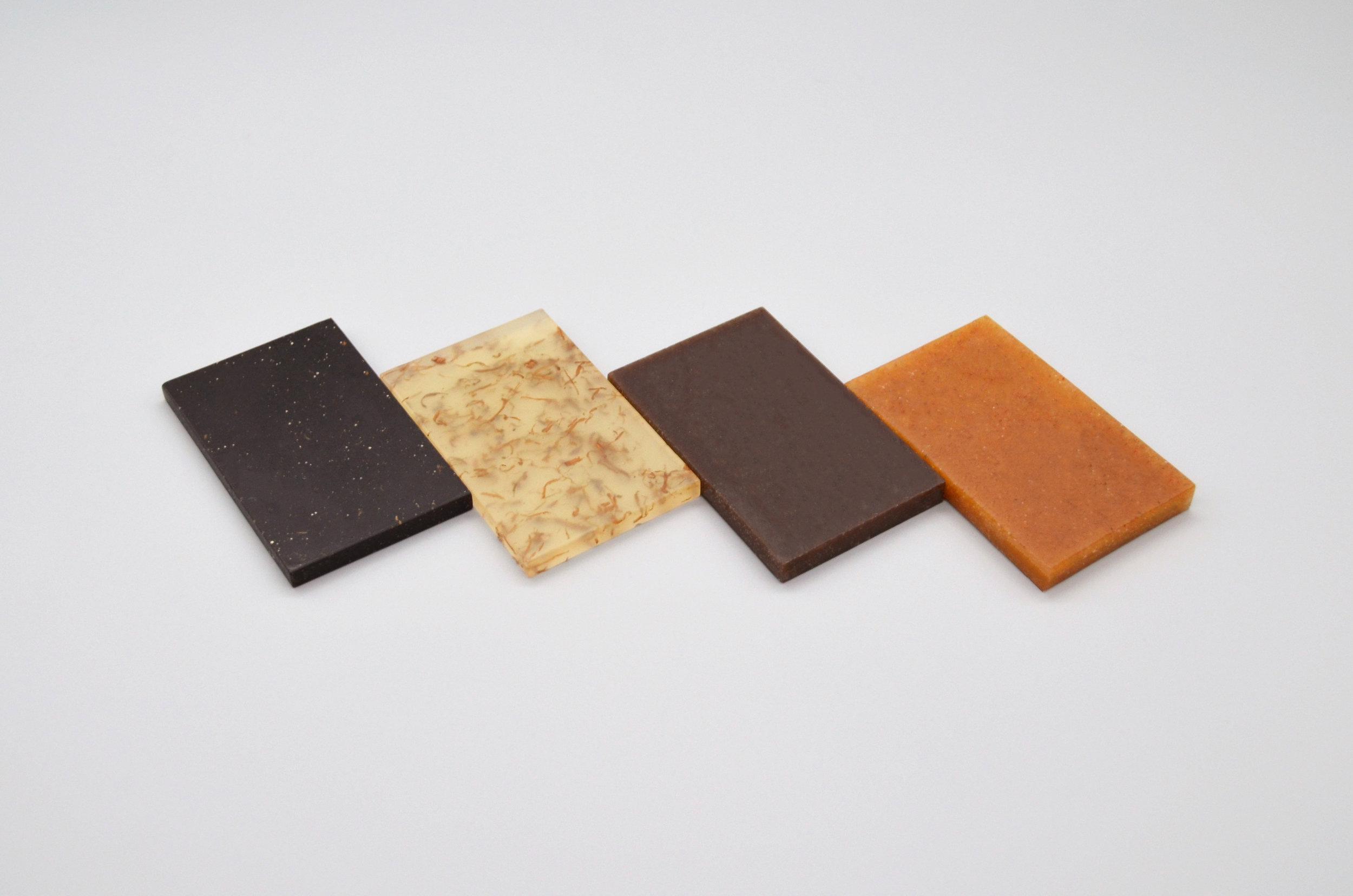 Samples of Chips Board potato-waste biomaterial.